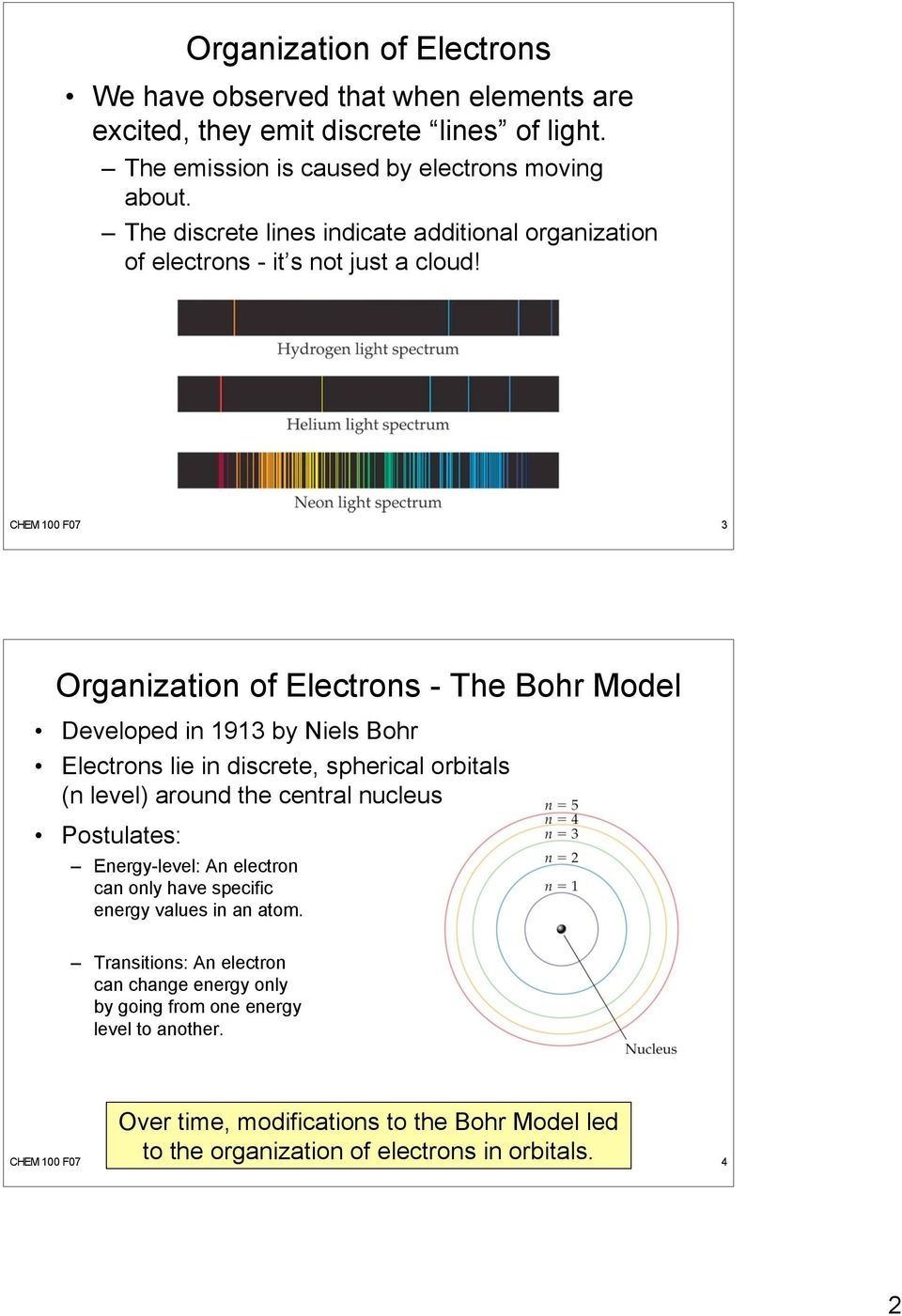 hight resolution of chem 100 f07 3 organization of electrons the bohr model developed in 1913 by niels