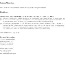 notice of copyright fw x240 auto transformer installation manual 2007 all rights reserved  [ 960 x 1353 Pixel ]