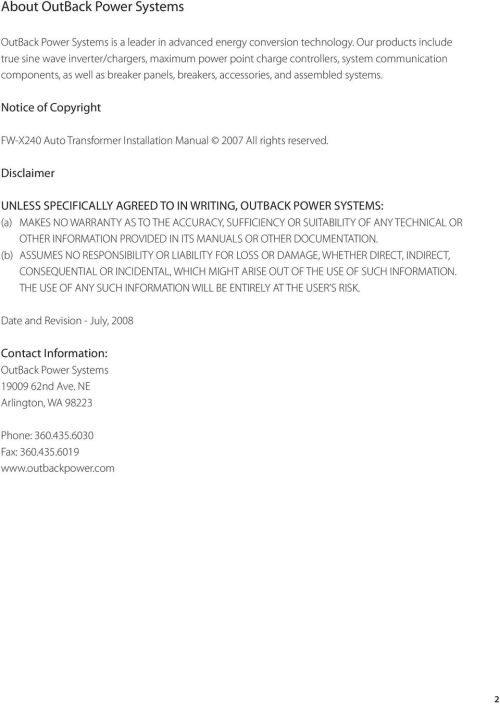 small resolution of notice of copyright fw x240 auto transformer installation manual 2007 all rights reserved