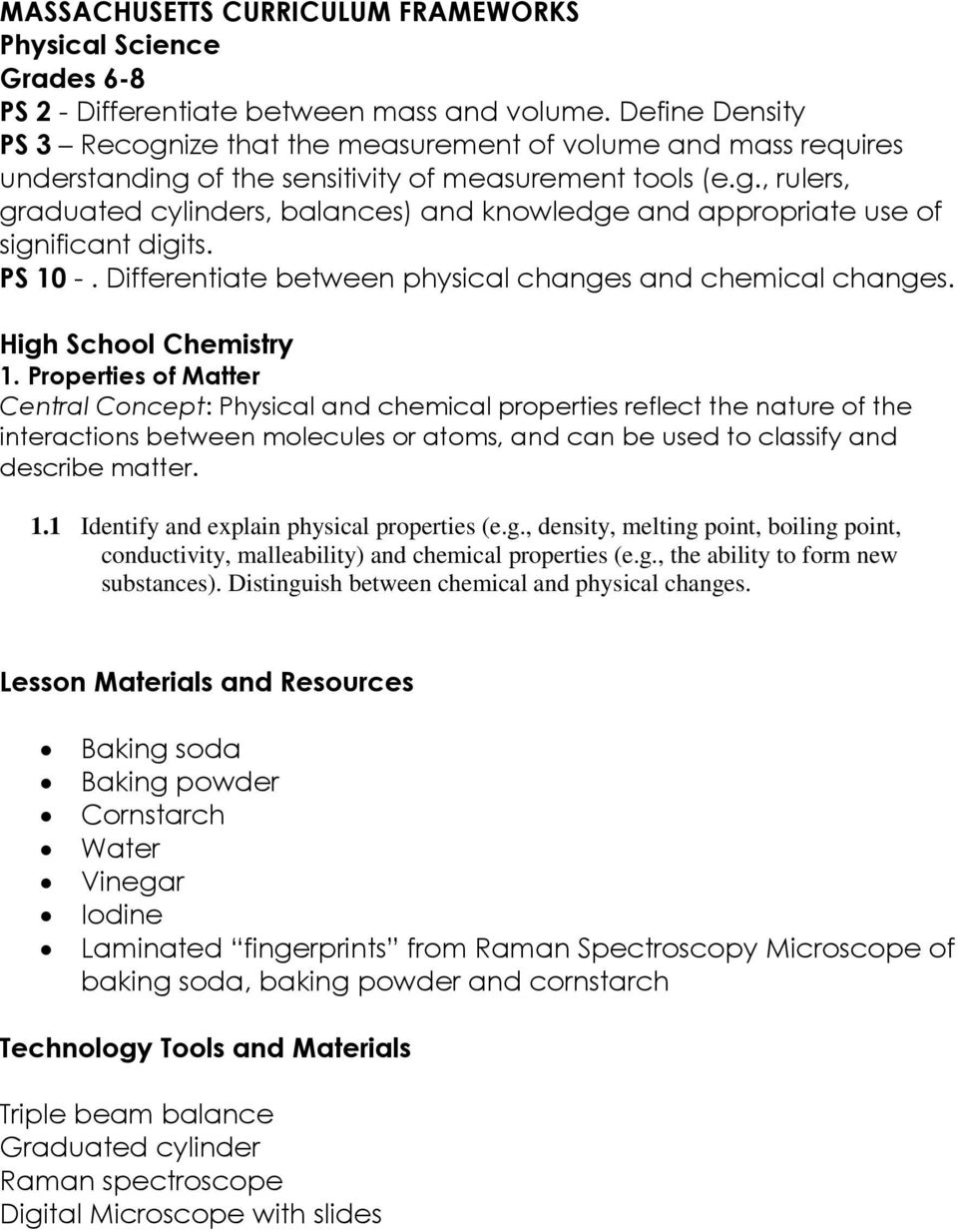hight resolution of RET Lesson Plan. Title: Identifying Mystery Powders. Primary Subject Area: 8  th Grade Physical Science - PDF Free Download