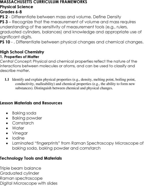 small resolution of RET Lesson Plan. Title: Identifying Mystery Powders. Primary Subject Area: 8  th Grade Physical Science - PDF Free Download