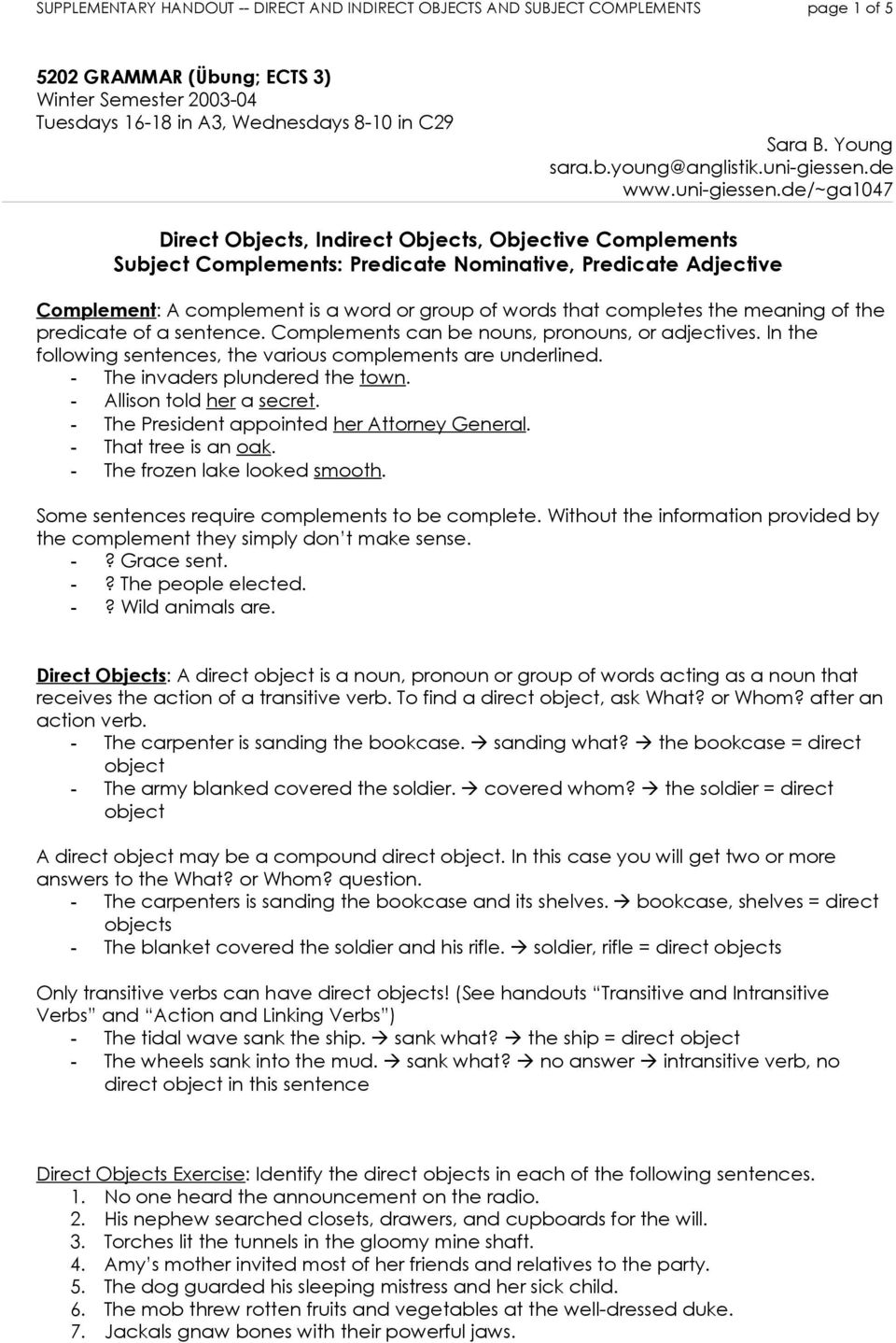 hight resolution of 34 Subject Complement Worksheet With Answers - Worksheet Resource Plans