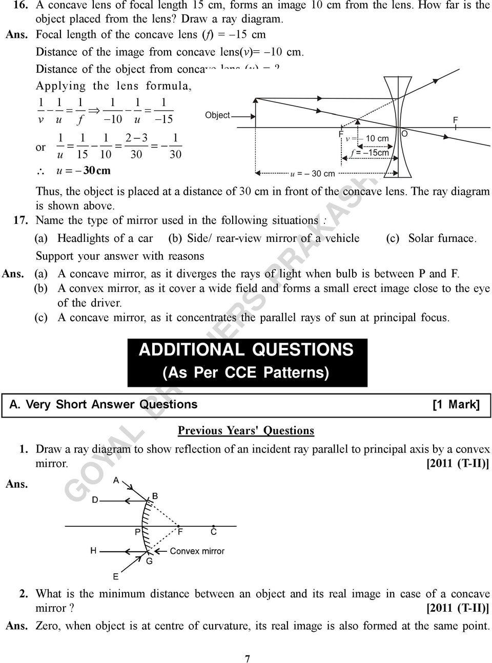 hight resolution of applying the lens formula 1 1 1 1 1 1 v u f 10 u 15 1