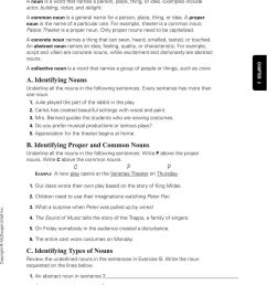 C. Identifying Types of Nouns Review the underlined nouns in the sentences  in Exercise B. Write the noun requested on the lines below. - PDF Free  Download [ 1224 x 960 Pixel ]