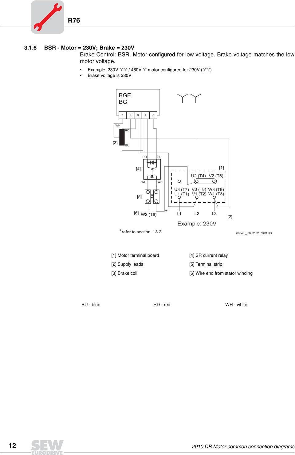 medium resolution of example 230v 460v motor configured for 230v brake voltage is 230v