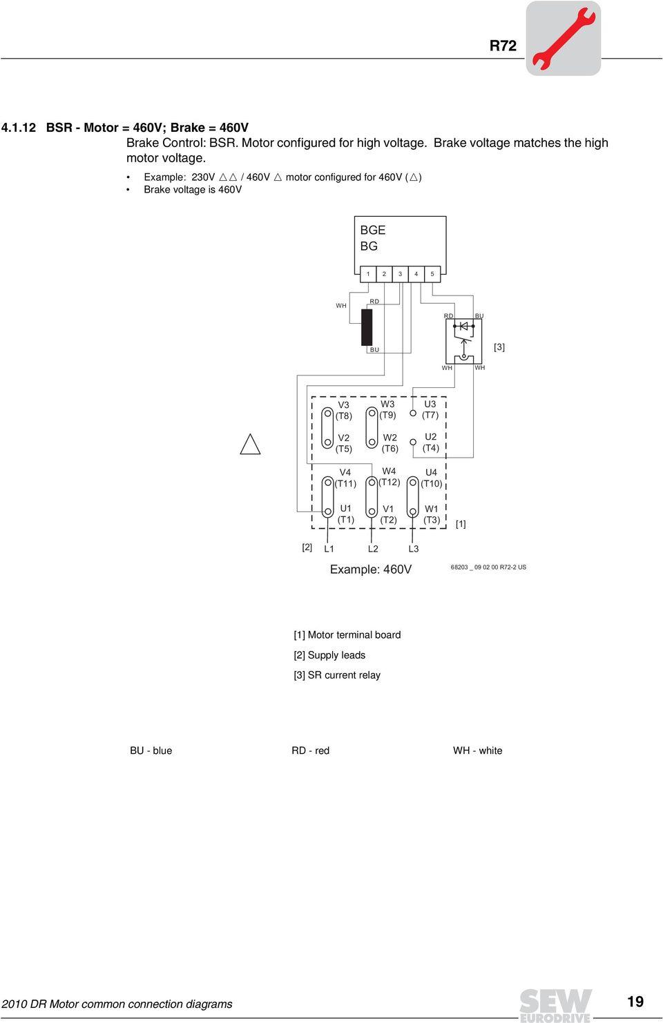 medium resolution of example 230v 460v motor configured for 460v brake voltage is 460v v3