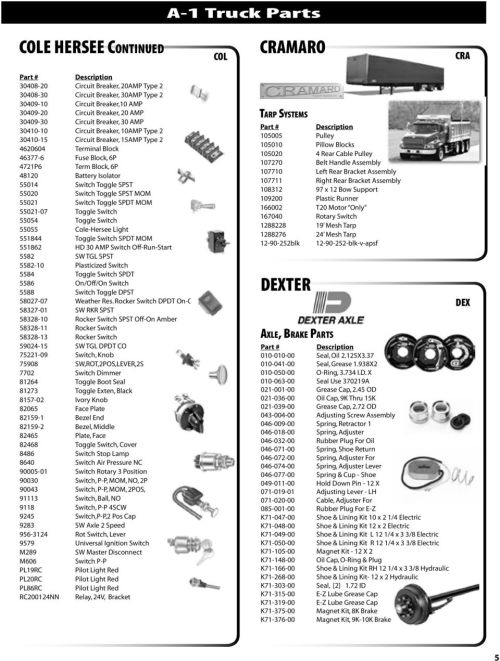 small resolution of  a 1 truck parts a 1 truck speciality parts book index pdf on unled cramaro electric tarp switch wiring diagram