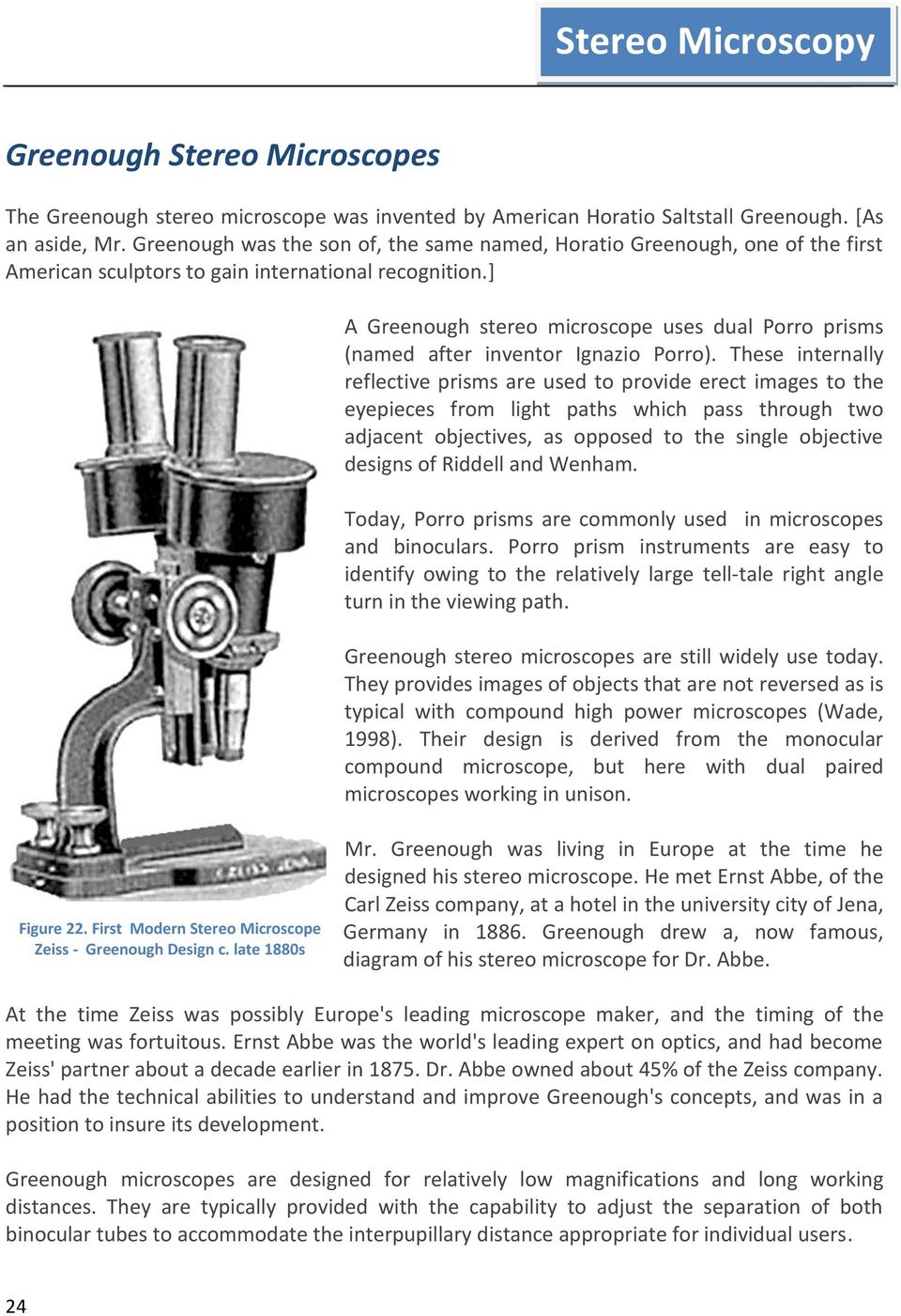 hight resolution of a greenough stereo microscope uses dual porro prisms named after inventor ignazio porro