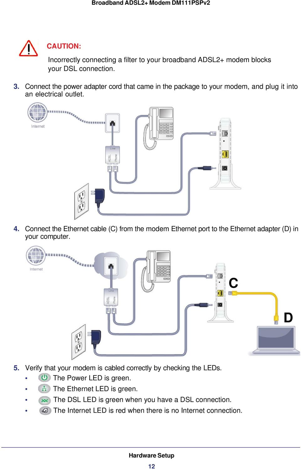 medium resolution of connect the ethernet cable c from the modem ethernet port to the ethernet adapter