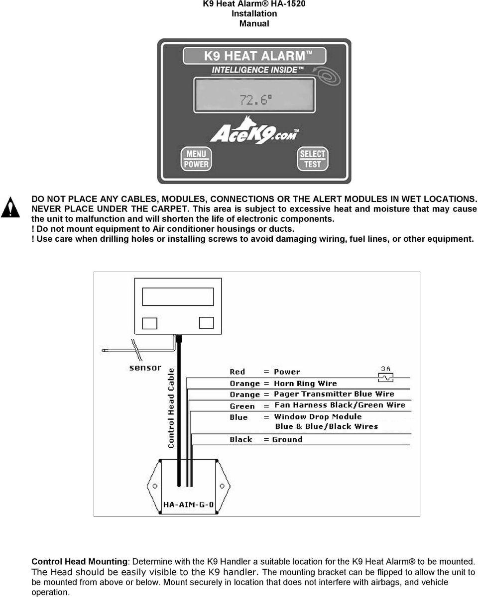 hight resolution of ace k9 wiring diagram wiring diagram articlek9 heat alarm owners manual ha pdf ace k9 wiring