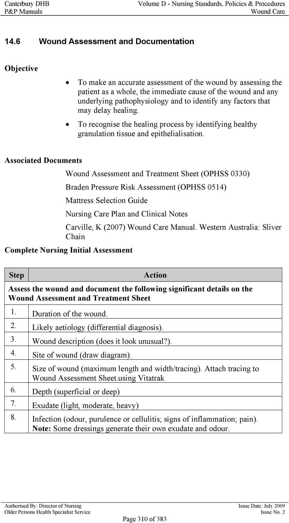 medium resolution of associated documents wound assessment and treatment sheet ophss 0330 braden pressure risk assessment