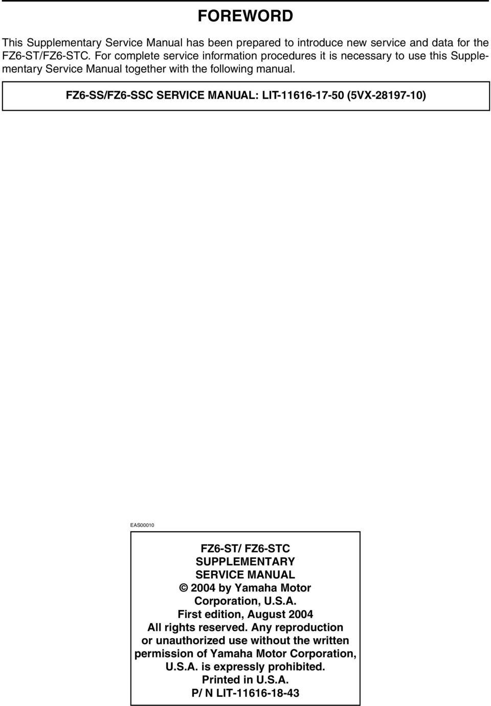 hight resolution of fz6 ss fz6 ssc service manual lit 66 7