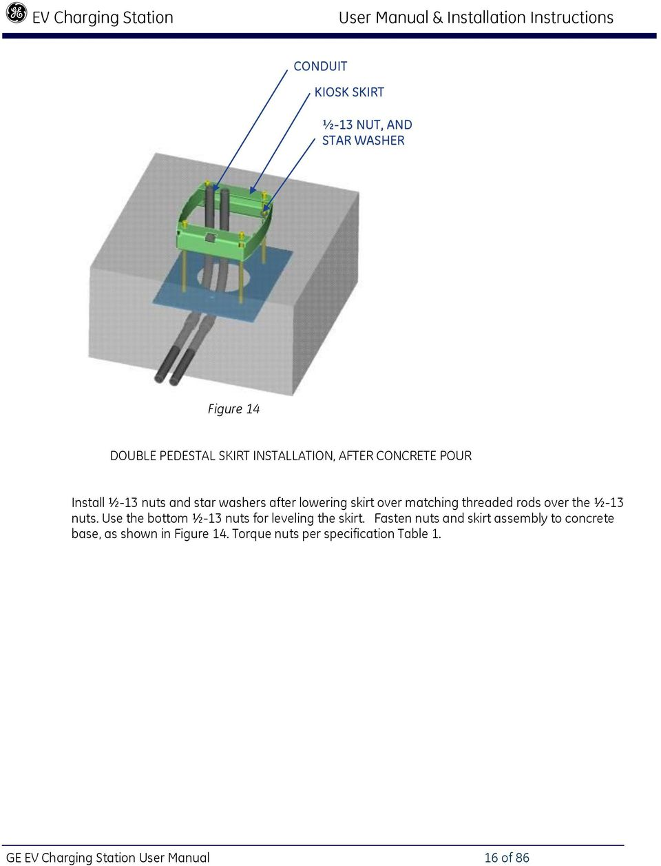 hight resolution of ge ev charging station user manual 16 of 86 threaded rods over the 13 nuts use the bottom 13 nuts