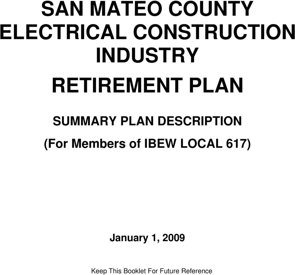 SAN MATEO COUNTY ELECTRICAL CONSTRUCTION INDUSTRY