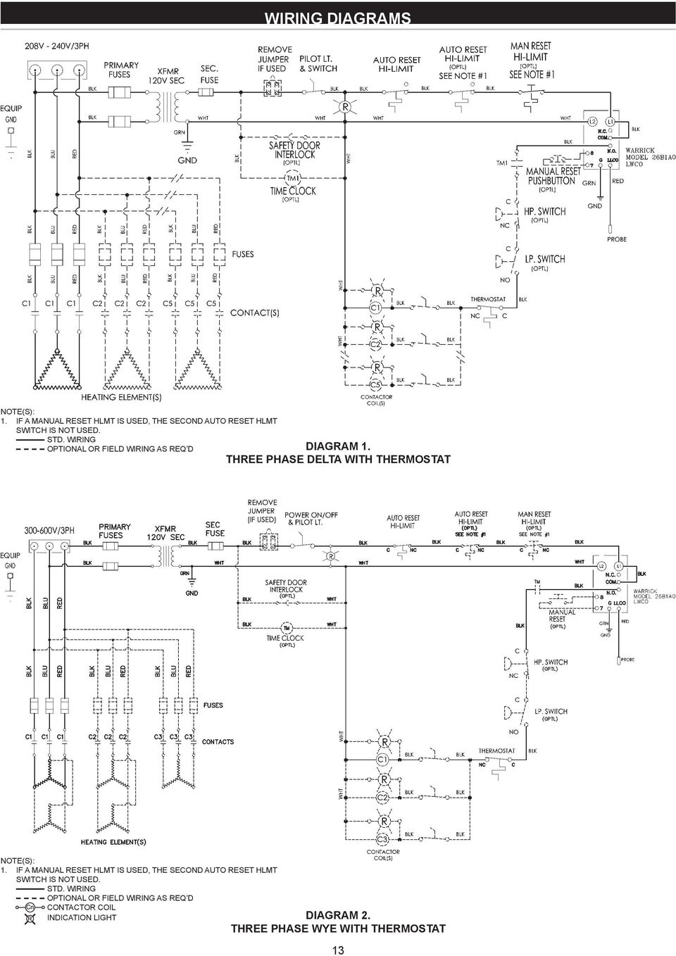 medium resolution of wiring optional or field wiring as req d diagram three phase delta with thermostat note