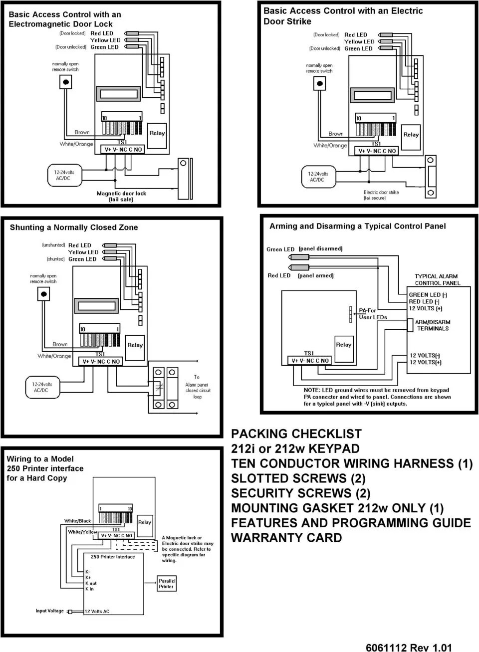 hight resolution of interface for a hard copy packing checklist 212i or 212w keypad ten conductor wiring harness
