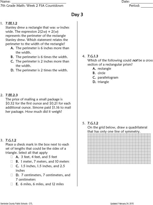 small resolution of 7 th Grade FSA Countdown - PDF Free Download