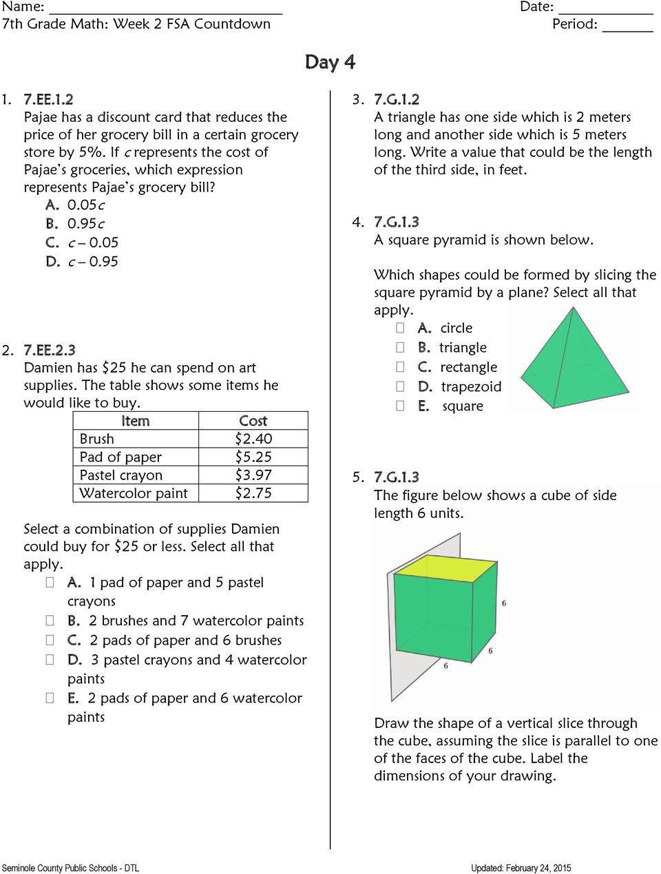 hight resolution of 7 th Grade FSA Countdown - PDF Free Download