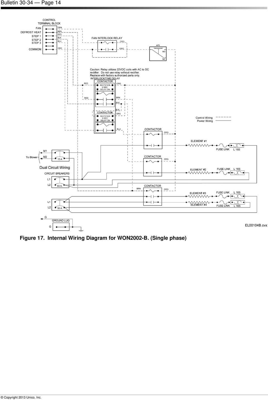 unico wiring diagram panasonic wiring diagram medium resolution of won0502 b installation instructions for electric furnaces bulletin internal wiring unico system wiring