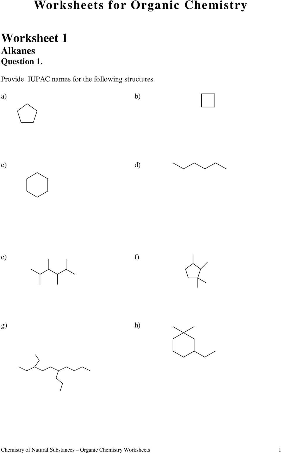 Worksheets. Worksheets For Organic Chemistry Worksheet 1