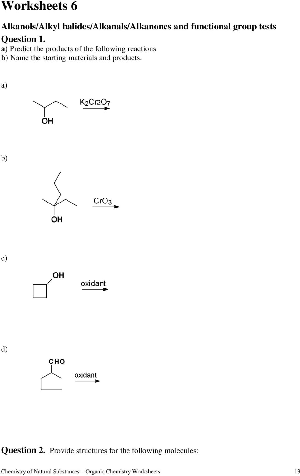 hight resolution of Worksheets for Organic Chemistry - PDF Free Download