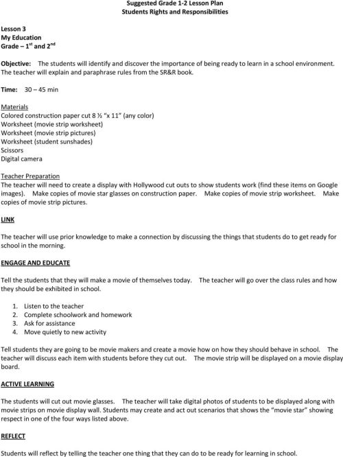 small resolution of Suggested Grade 1 2 Lesson Plan Students Rights and Responsibilities - PDF  Free Download
