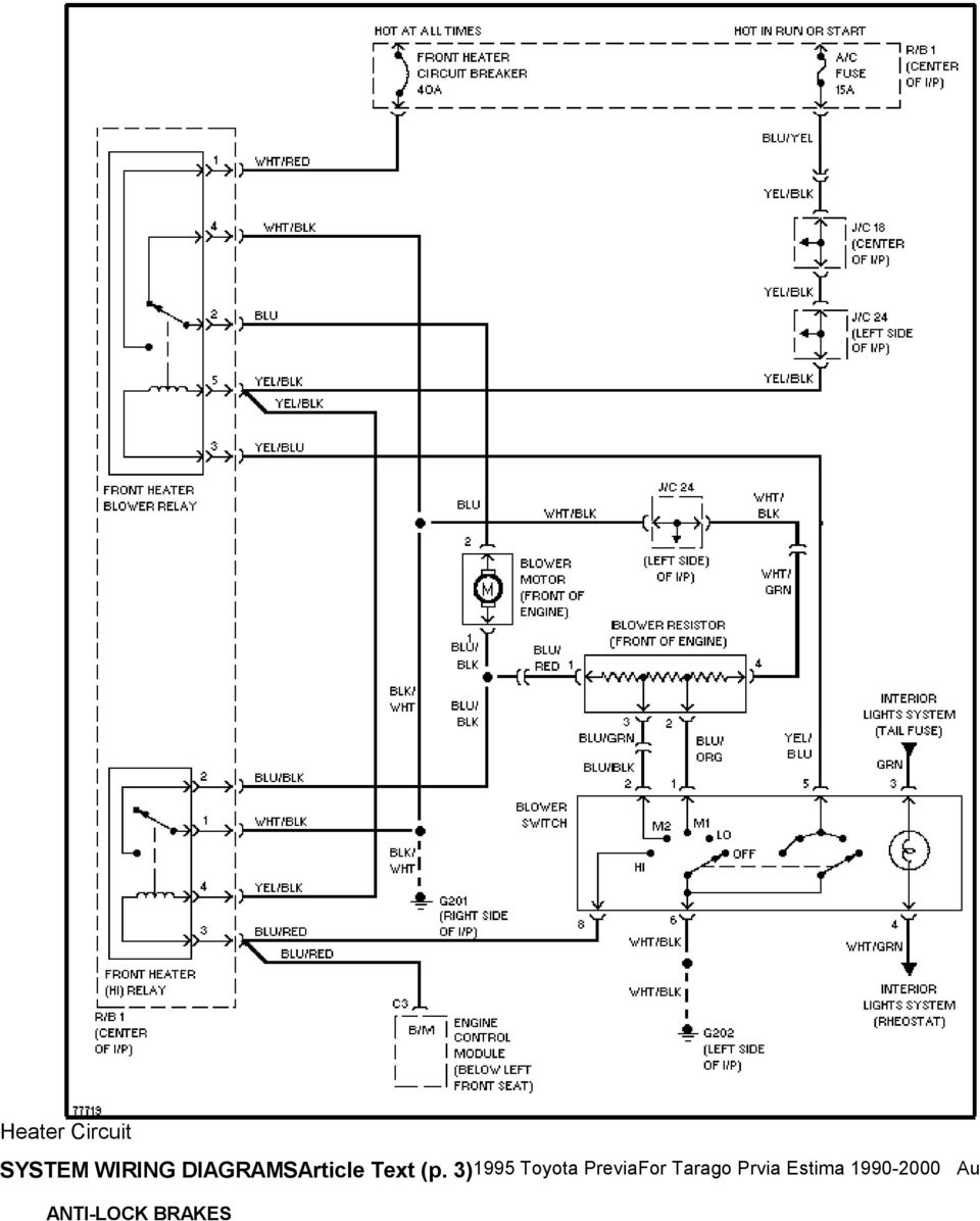 medium resolution of 1995 system wiring diagrams toyota previa 2 4l sc a c circuit3 1995 toyota previafor