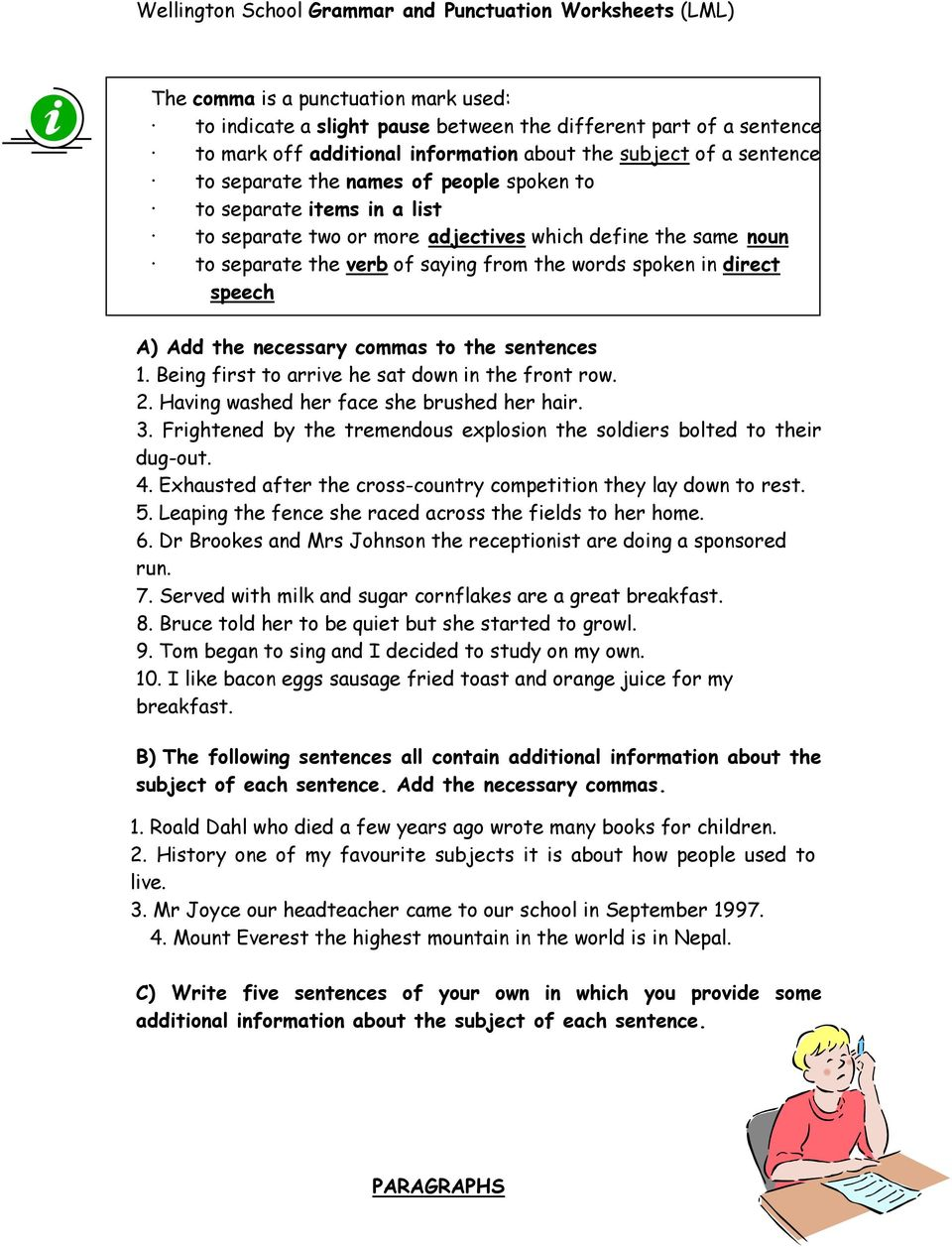 hight resolution of GRAMMAR AND PUNCTUATION WORKSHEETS - PDF Free Download