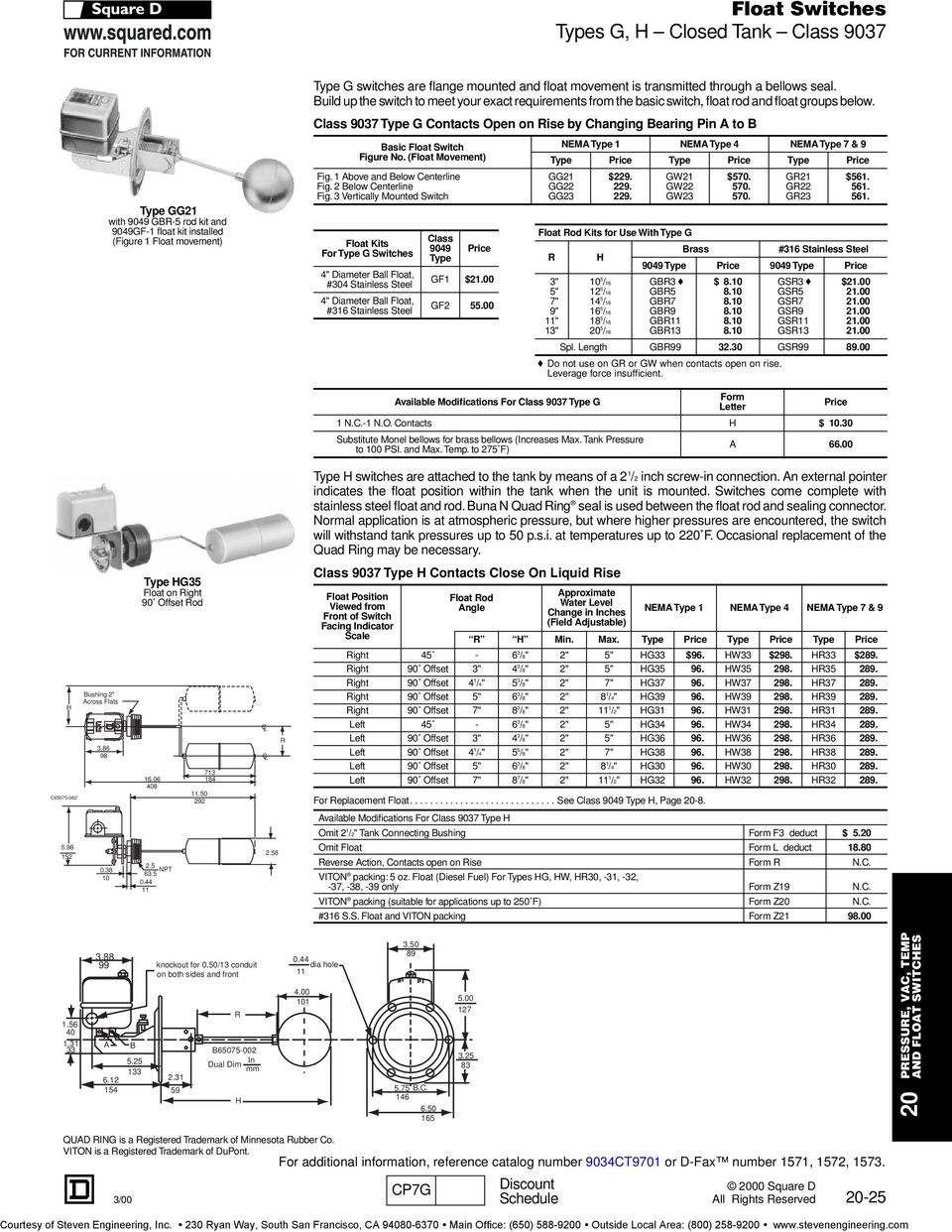 hight resolution of  square float switches cl 9036 types d and g pdf on square d catalog square square d wiring diagram on square