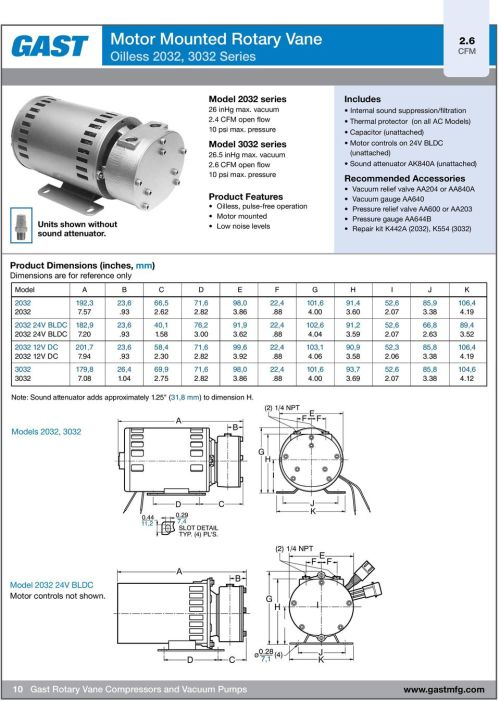 small resolution of pressure product features oilless pulse free operation motor mounted low noise levels includes internal