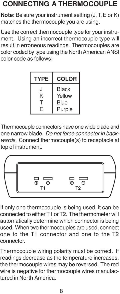 small resolution of thermocouples are color coded by type using the north american ansi color code as follows