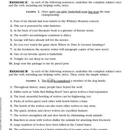 8 Sentences. Finding Subjects and Predicates. Language Handbook. Exercise A  Use a vertical line to separate the complete subject and the complete - PDF  Free Download [ 1365 x 960 Pixel ]