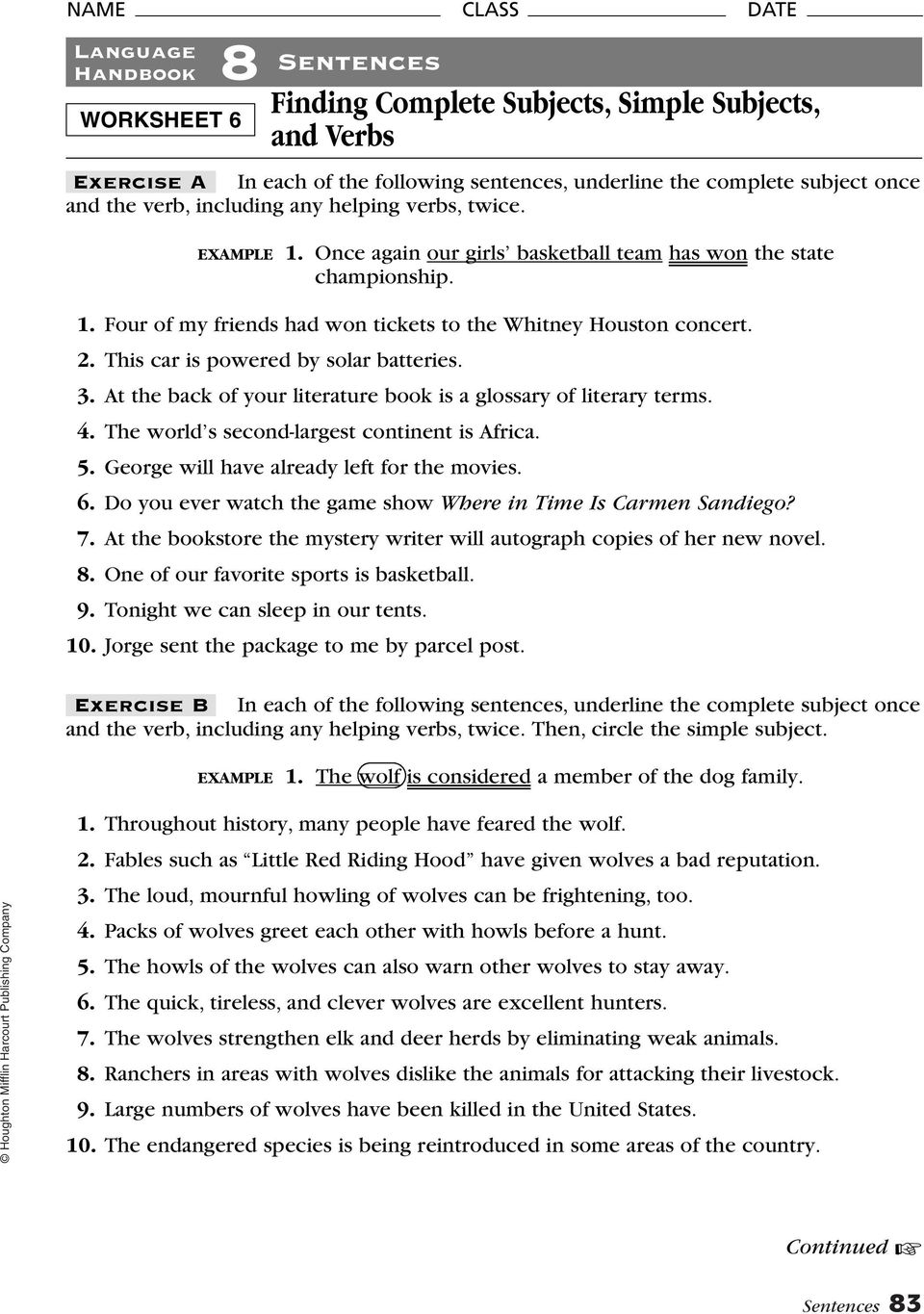 medium resolution of 8 Sentences. Finding Subjects and Predicates. Language Handbook. Exercise A  Use a vertical line to separate the complete subject and the complete - PDF  Free Download