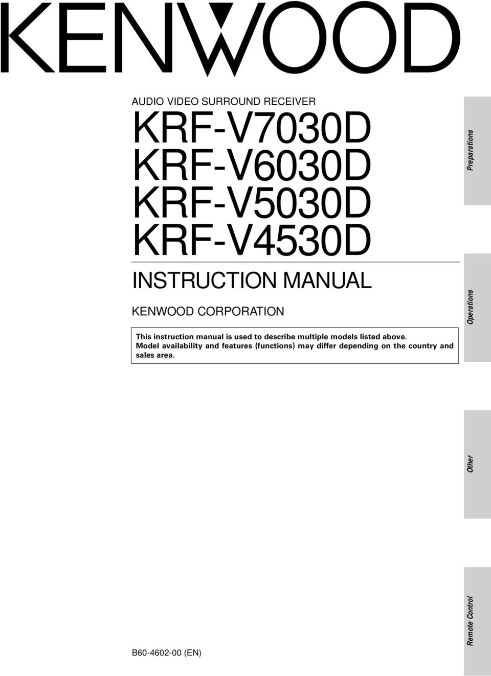 KENWOOD CORPORATION AUDIO VIDEO SURROUND RECEIVER KRF