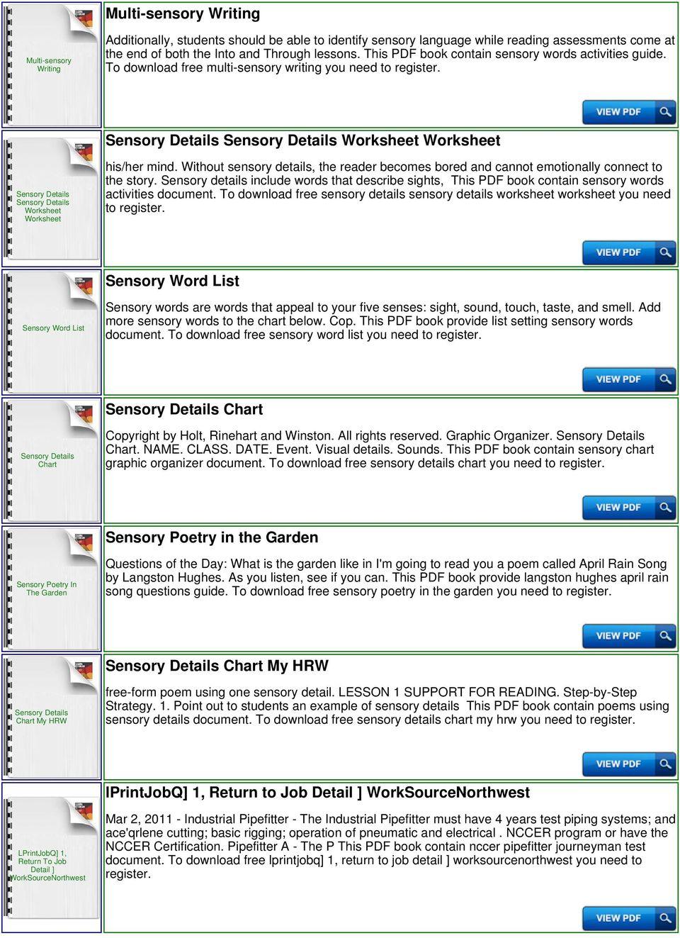 medium resolution of Sensory Detail Passage - PDF Free Download