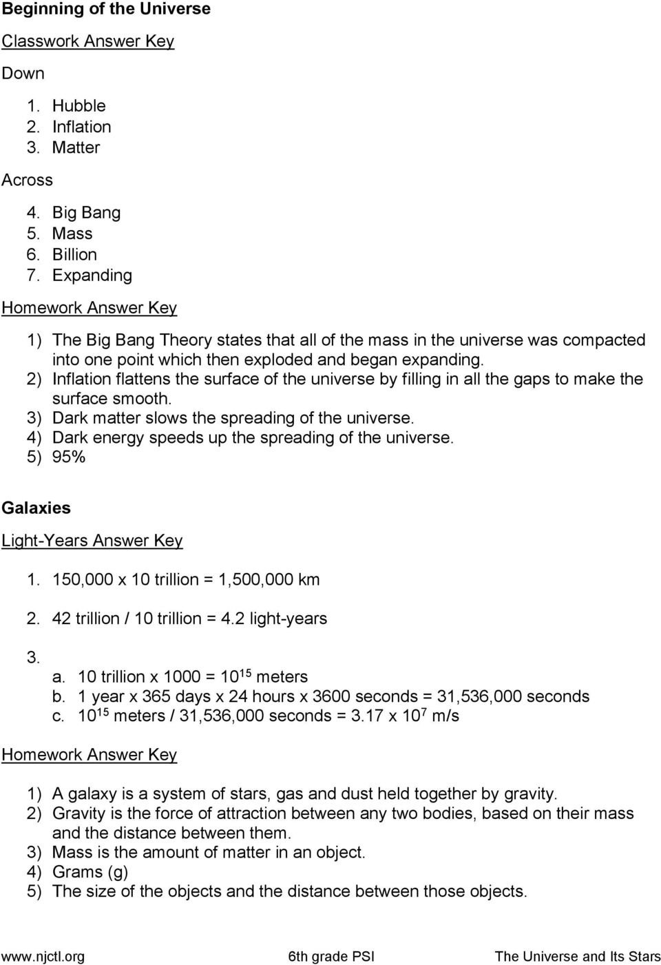 hight resolution of Beginning of the Universe Classwork 6 th Grade PSI Science - PDF Free  Download
