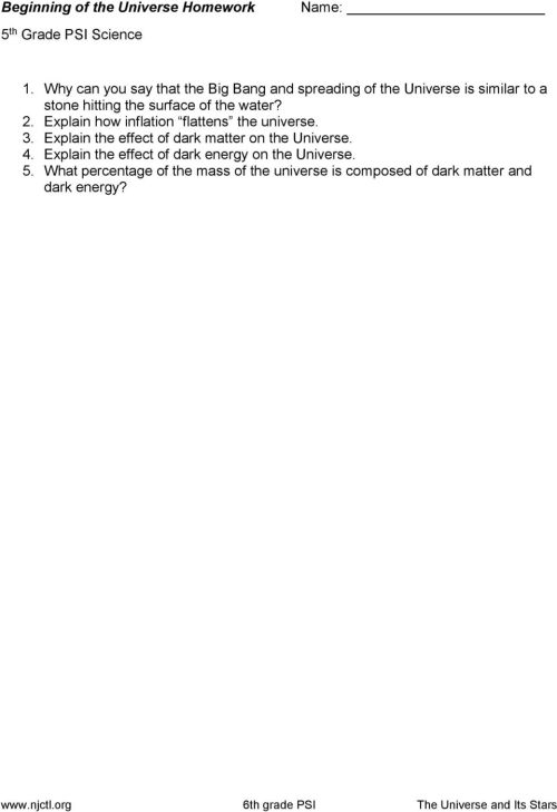 small resolution of Beginning of the Universe Classwork 6 th Grade PSI Science - PDF Free  Download