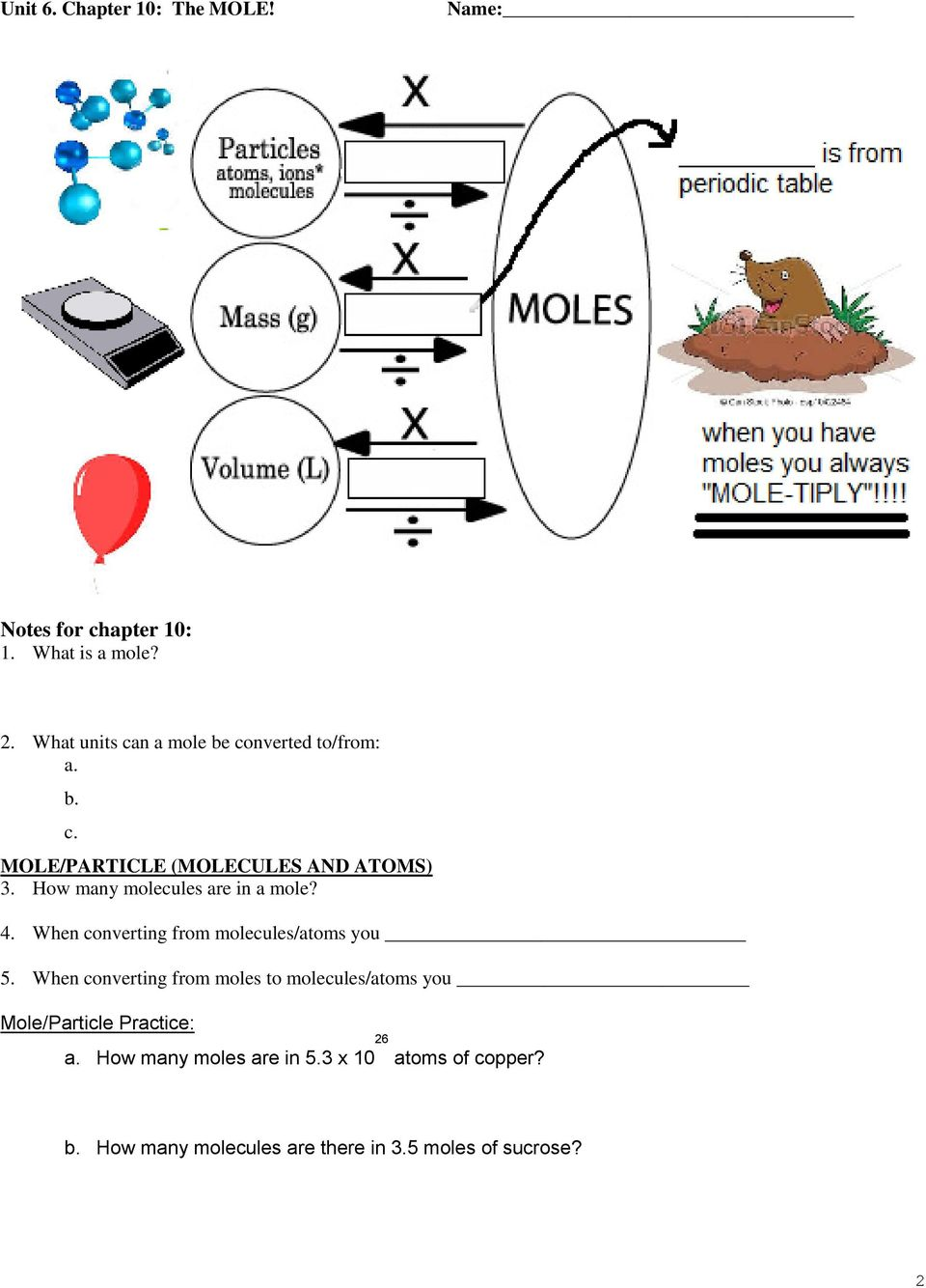 Unit 6. Chapter 10: The MOLE! Date In Class Homework