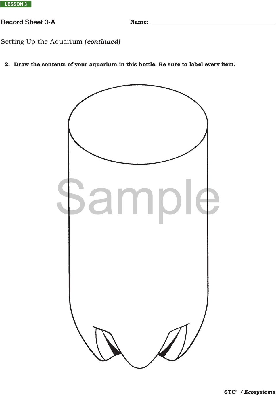 Sample. Setting Up the Aquarium LESSON 3. Overview and
