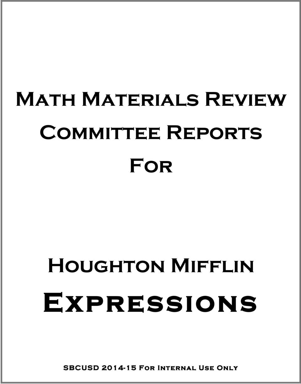 Math Materials Review Committee Reports For. Houghton