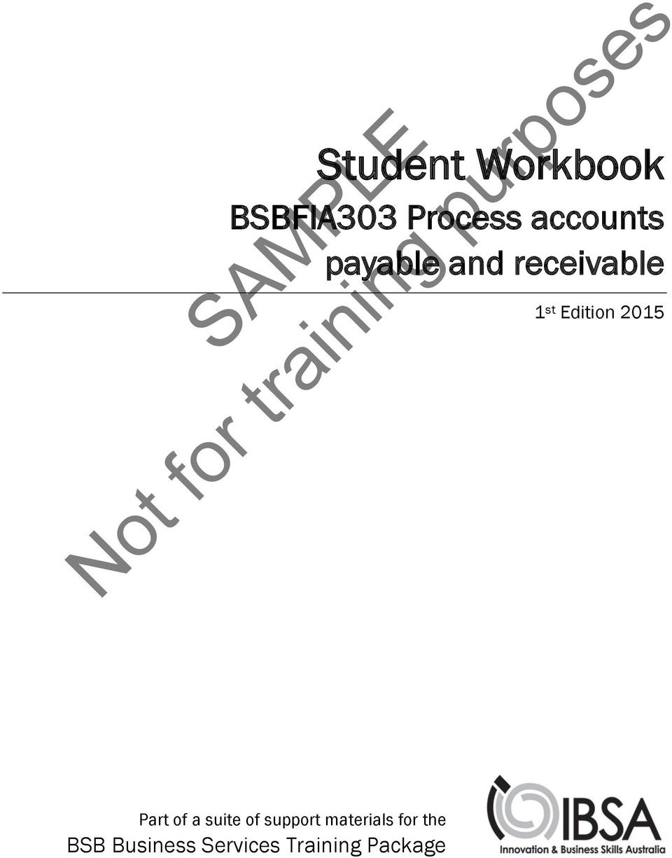 SAMPLE. Not for training purposes. Student Workbook