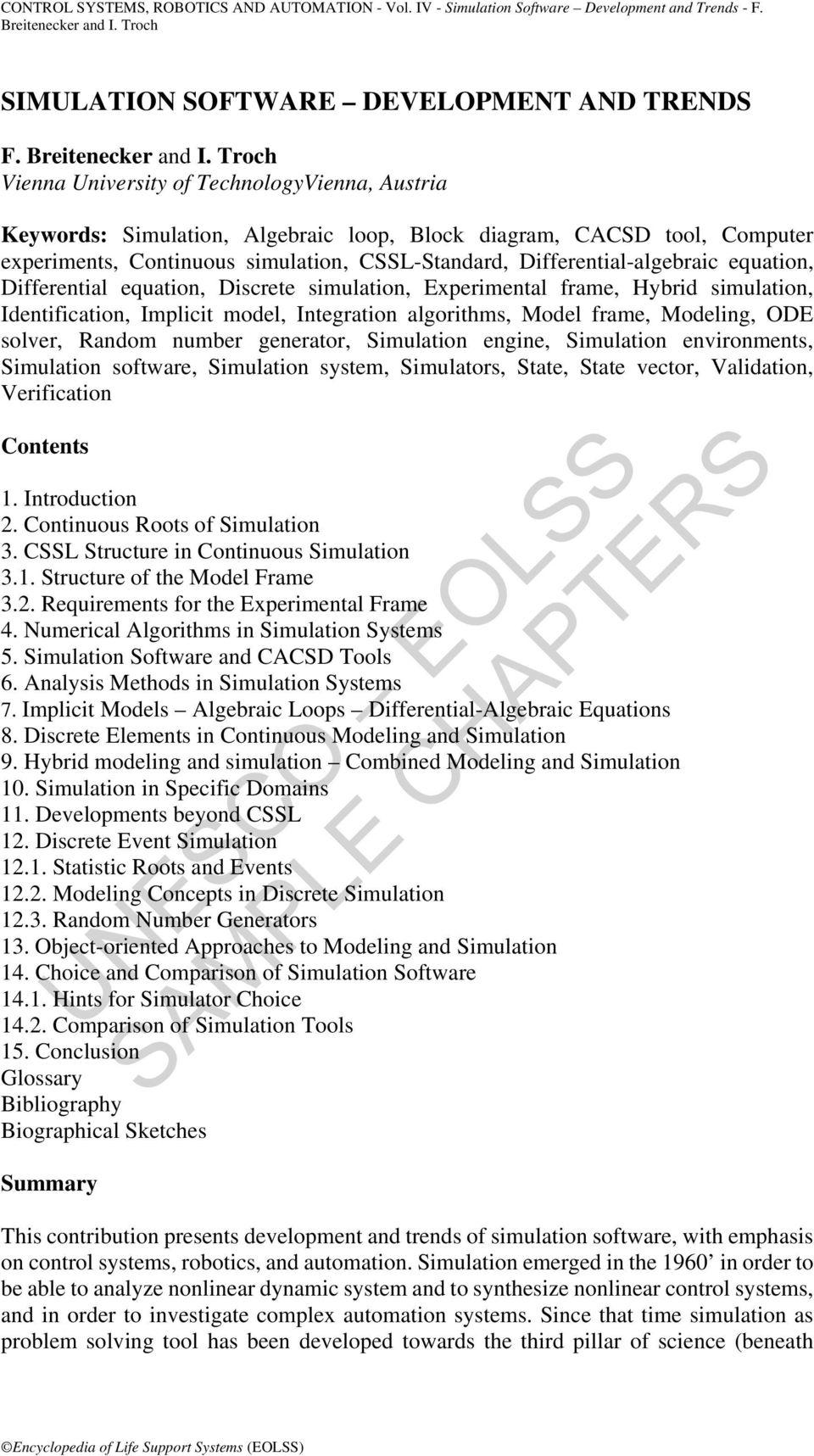 hight resolution of equation differential equation discrete simulation experimental frame hybrid simulation identification