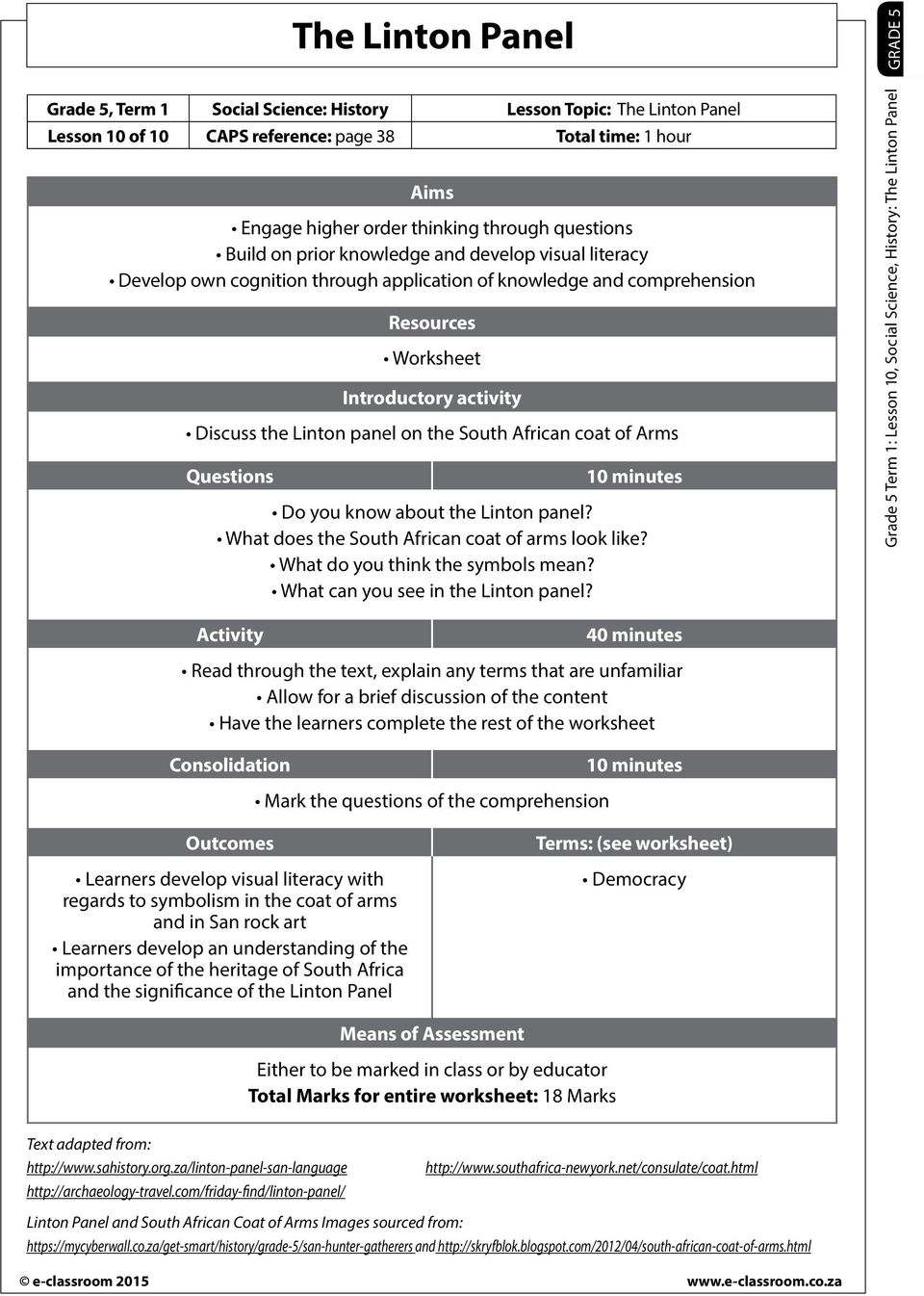 hight resolution of The Linton Panel. Resources Worksheet Introductory activity Discuss the  Linton panel on the South African coat of Arms - PDF Free Download