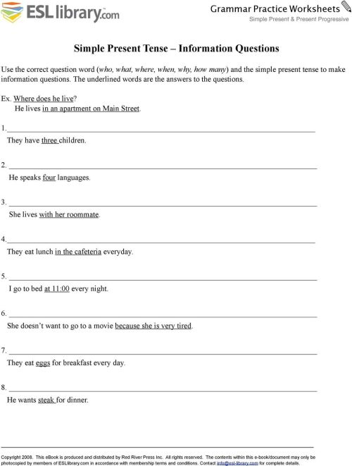 small resolution of Simple Present Tense. Simple Present Tense in the Negative. Grammar  Practice Worksheets - PDF Free Download