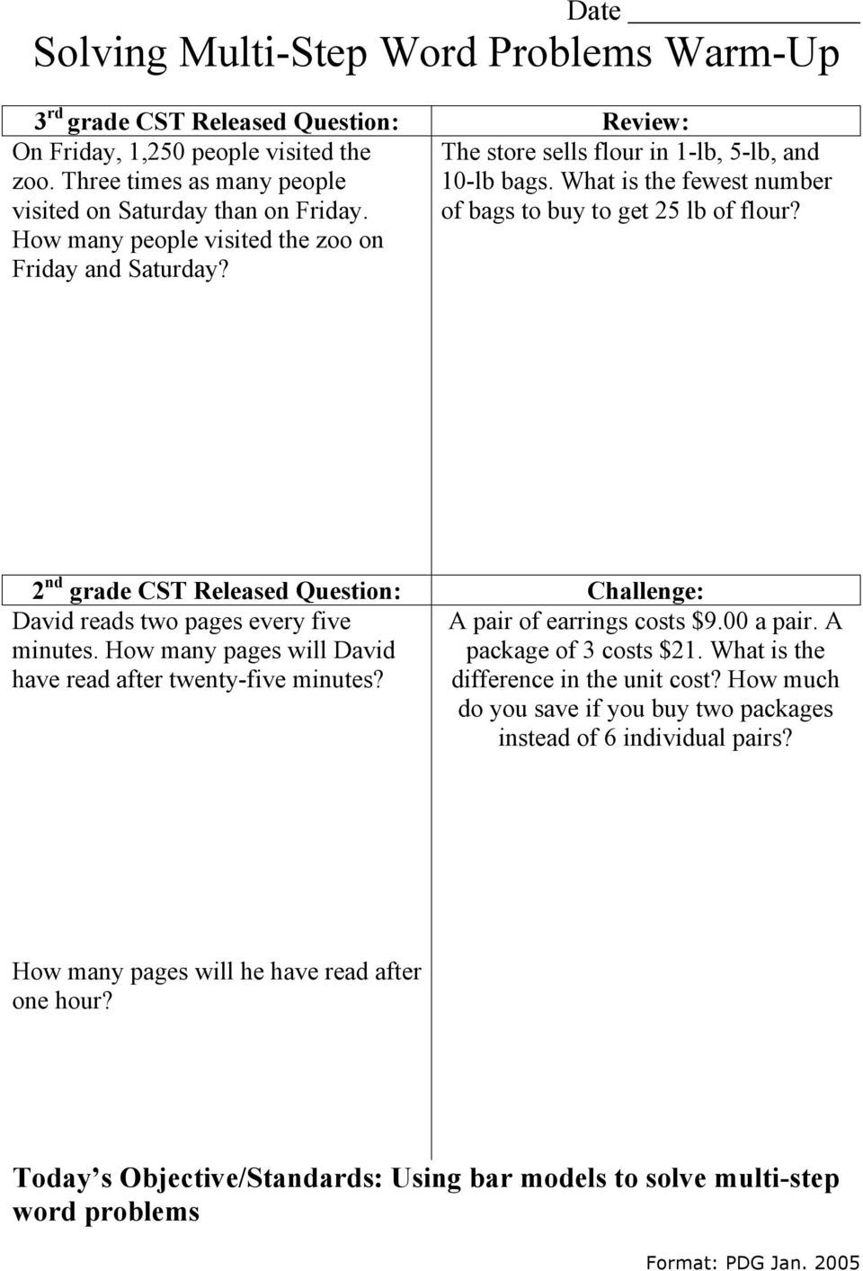 hight resolution of Date Solving Multi-Step Word Problems Warm-Up - PDF Free Download