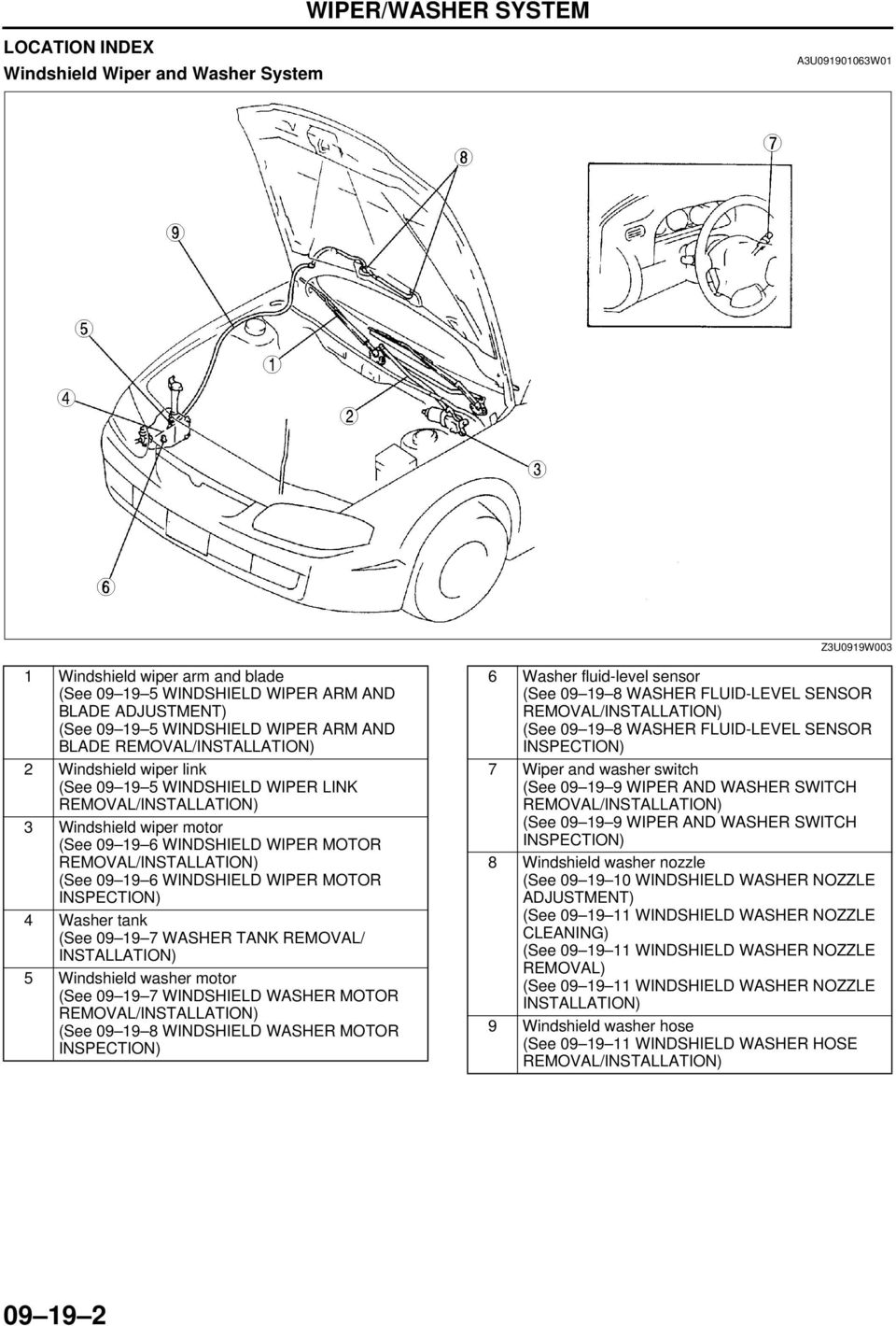 hight resolution of washer tank removal installation 5 windshield washer motor see 09 19 7 windshield