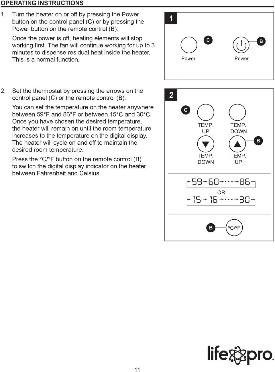 hight resolution of power c power 2 set the thermostat by pressing the arrows on the control panel