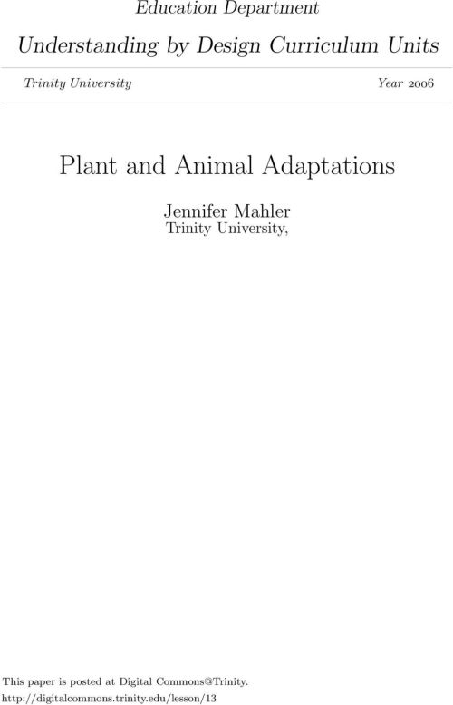 small resolution of Plant and Animal Adaptations 4th grade - PDF Free Download