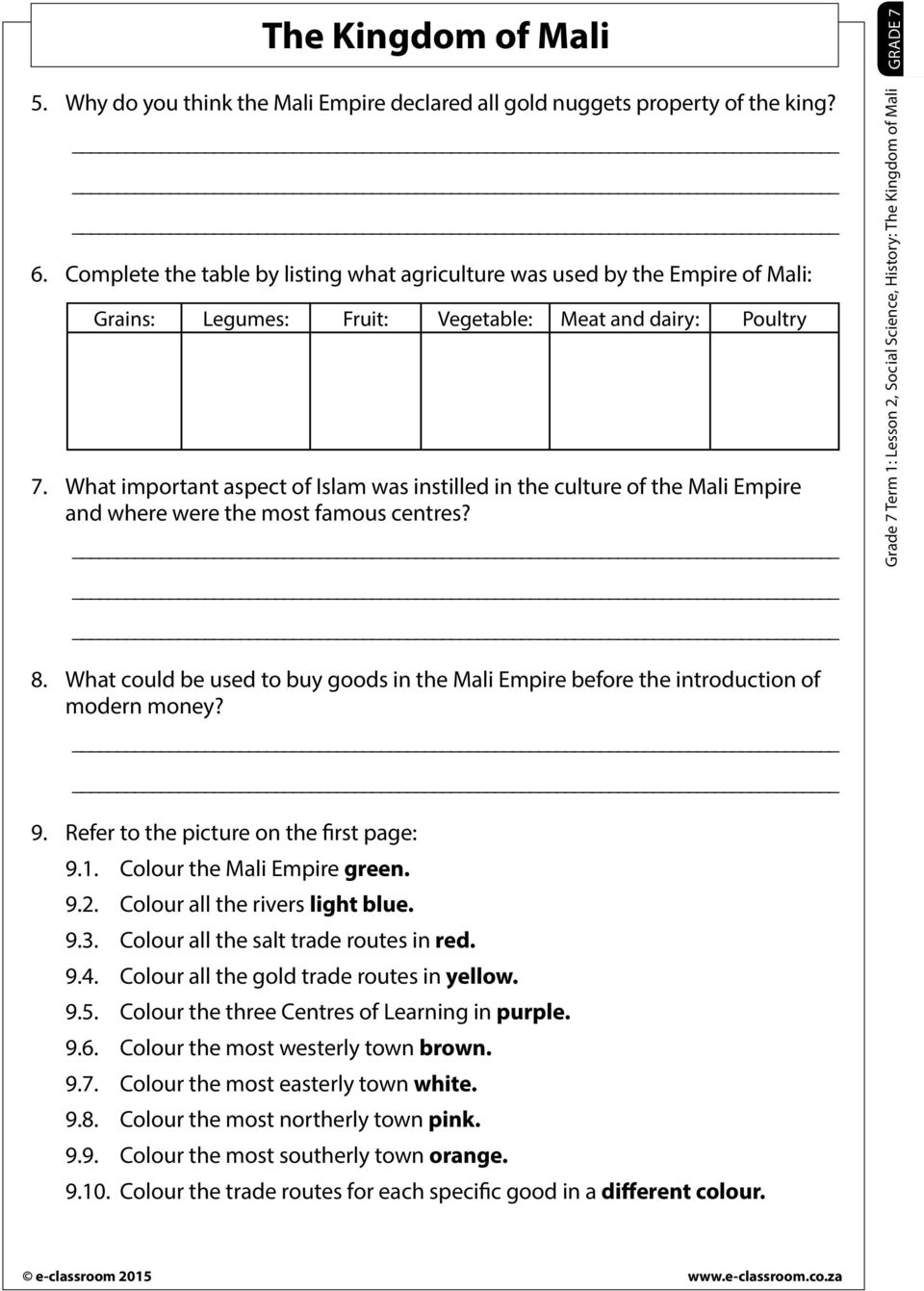 medium resolution of The Kingdom of Mali. Read through the worksheet and allow for explanations  and clarifications Discuss new terminology Learners complete the worksheet  - PDF Free Download