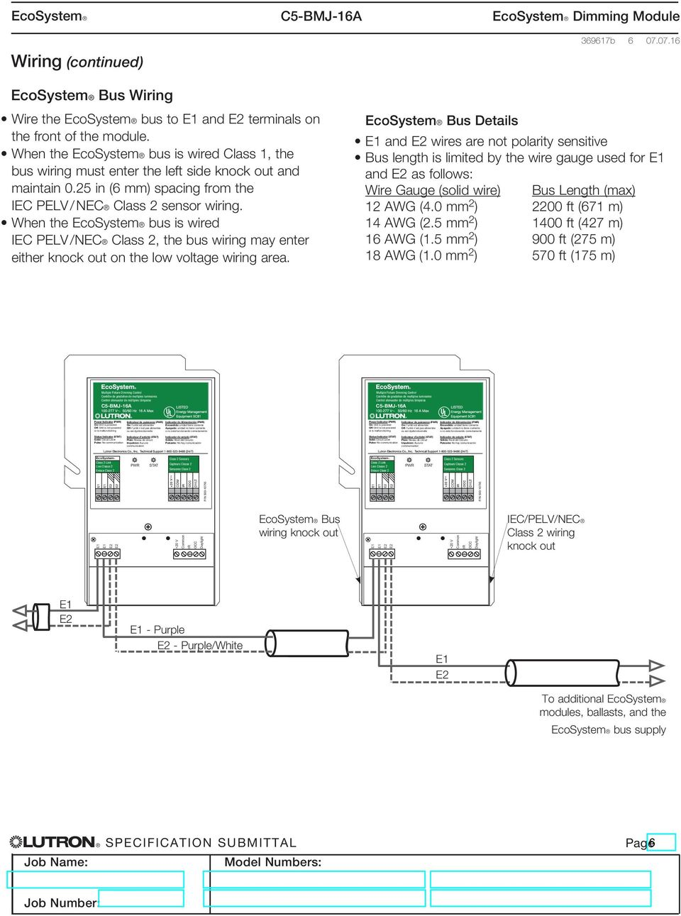 medium resolution of when the ecosystem bus is wired iec pelv nec class 2 the bus wiring